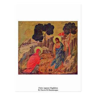 O cristo aparece Magdalena por Duccio Di Cartão Postal