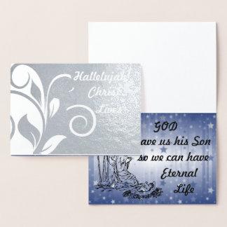 O cristo da aleluia vive cartão da folha de prata