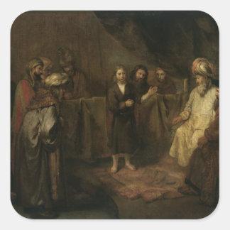 O cristo infantil no templo adesivo quadrado