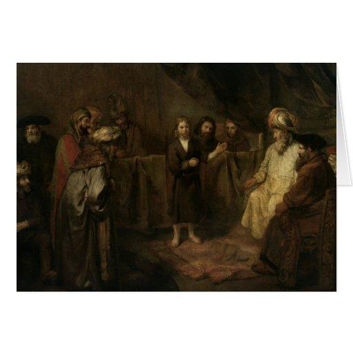 O cristo infantil no templo cartões