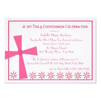 ø Cruz e flores do comunhão Convite 12.7 X 17.78cm