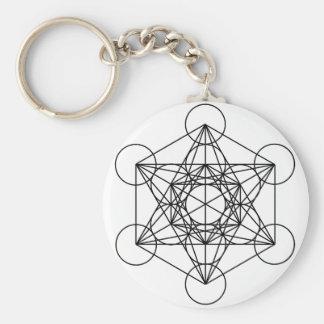 O cubo de Metatron (branco) Chaveiro