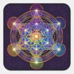 O cubo de Metatron com a flor da etiqueta da vida Adesivo Quadrado