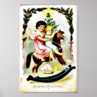 O cumprimento do Natal com anjos joga em um cavalo Impressão