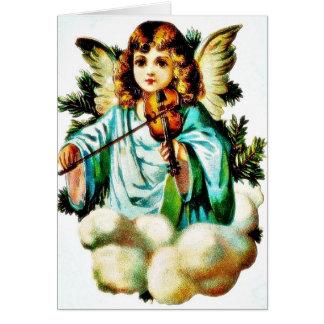 O cumprimento do Natal com um anjo joga a música Cartao