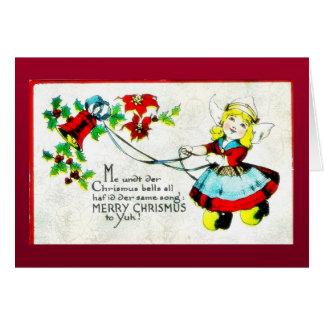 O cumprimento do Natal com um anjo joga a música Cartoes