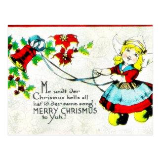 O cumprimento do Natal com um anjo joga a música Cartão Postal