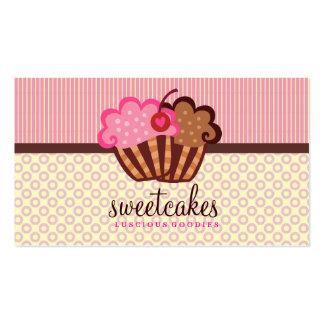 O cupcake doce de 311 bolos pontilha listras de n cartão de visita