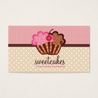 O cupcake doce de 311 bolos pontilha listras de n cartão de visitas