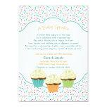 O cupcake polvilha o chá de fraldas convida cores convite 12.7 x 17.78cm