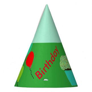 O cupcake verde Balloons chapéus do aniversário