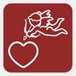 O Cupido golpeia etiquetas feitas sob encomenda Adesivo Quadrado