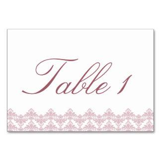 O damasco antigo de Tablecard do casamento velho