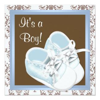O damasco azul de Brown calça o chá do bebé Convite Quadrado 13.35 X 13.35cm