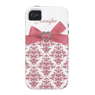 O damasco branco & o impressão do arco cor-de-rosa capas para iPhone 4/4S