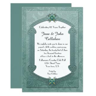 O damasco elegante da cerceta Jewels o convite do