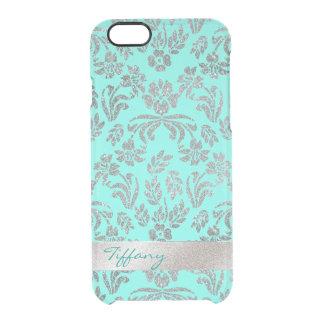 O damasco floral da prata e do Aqua cancela o caso Capa Para iPhone 6/6S Clear