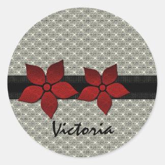 O damasco floresce etiquetas listradas da beira adesivos em formato redondos