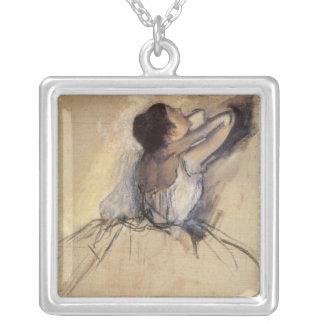 O dançarino por Edgar Degas, arte do balé do Colar Com Pendente Quadrado