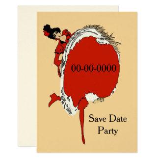 O dançarino vermelho, data das economias, adiciona convite 12.7 x 17.78cm