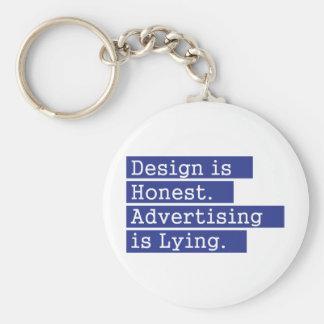 O design é honesto - azul chaveiro