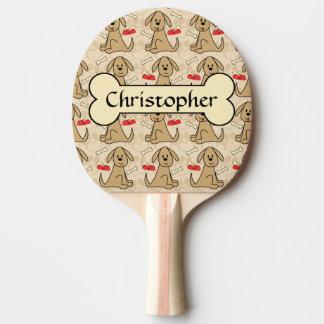 O design gráfico de cão de filhote de cachorro de raquete para ping pong