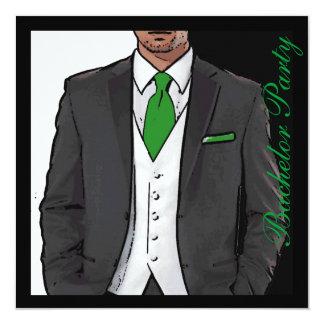 O despedida de solteiro branco preto verde do convite quadrado 13.35 x 13.35cm