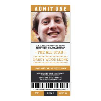 O despedida de solteiro do bilhete dos esportes convite 10.16 x 23.49cm