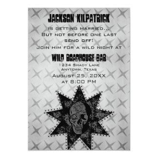 O despedida de solteiro do crânio do Grunge Convite 12.7 X 17.78cm