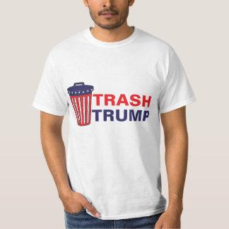 O desperdício do trunfo do lixo vermelho, branco, camiseta