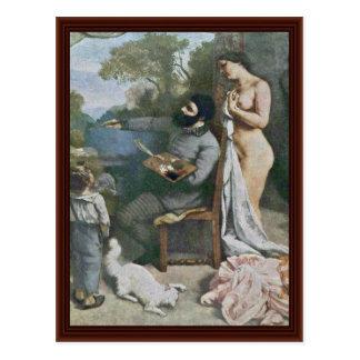 O detalhe da oficina dos pintores por Courbet Gust Cartoes Postais