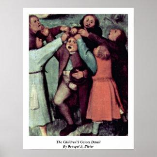 O detalhe dos jogos das crianças por Bruegel A Pi Posteres
