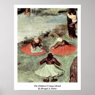 O detalhe dos jogos das crianças por Bruegel A. Pi Posteres