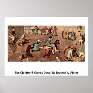 O detalhe dos jogos das crianças por Bruegel A Pi Pôsteres