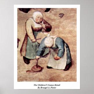 O detalhe dos jogos das crianças por Bruegel A. Pi Posters