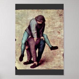 O detalhe dos jogos das crianças por Bruegel D. Ä. Impressão