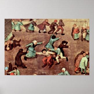 O detalhe dos jogos das crianças por Bruegel D. Ä. Poster