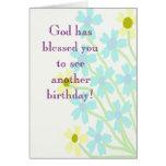O deus abençoou-o cartão de aniversário