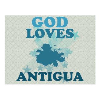 O deus ama Antígua Cartão Postal