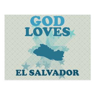 O deus ama El Salvador Cartoes Postais