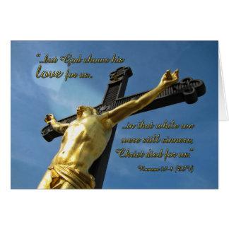 O deus ama-o 5:7 dos romanos - cartão de nota do