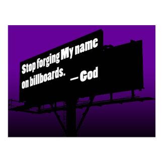 O deus diz parou-o cartão do quadro de avisos