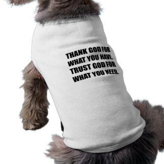 O deus do obrigado para tem a necessidade da camisa sem mangas para cachorro