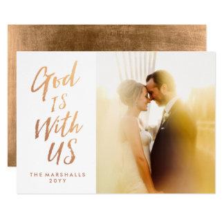 O deus é connosco cartão de Natal religioso da Convite 12.7 X 17.78cm