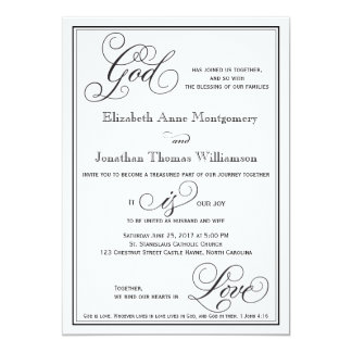 Cartão O deus é convite cristão do casamento do roteiro