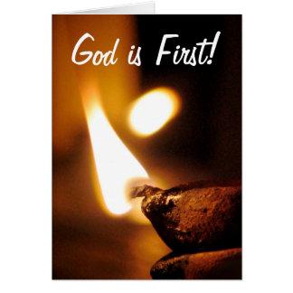 O deus é primeira luz de brilho cartão