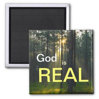 O deus é REAL - mag religioso espiritual do refrig Ímã Quadrado
