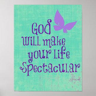 O deus fará a sua vida citações espectaculares posteres