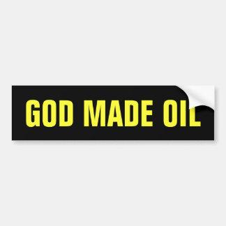 O deus fez o óleo adesivo para carro