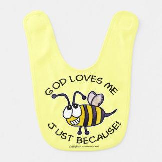 O deus parvo da abelha do inseto ama-me apenas babadores infantis